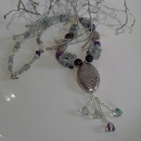 Fluorite, Amethyst, Aventurine,Tibetan Style Large Beaded Silver Plated Necklace