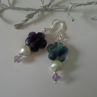 Fluorite & Freshwater Pearl, & Amethyst Stirling Silver Earrings