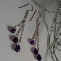 Sterling Silver  Brielette Amethyst Brealet Earrings