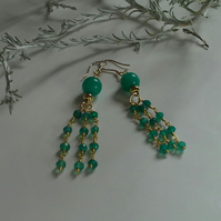 Rare  Green faceted Onxy Waterfall Design Gold Vermeil earrings