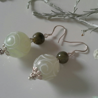 Serpentine & Chinese Jade Sterling Silver Earrings