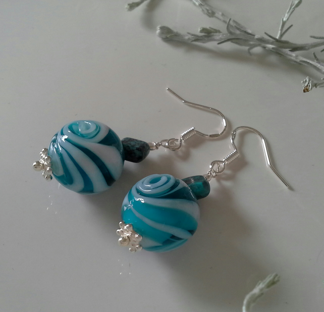 Turquoise (Stab) & Hand Blowen Glass Beads Sterling Silver Earrings