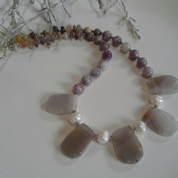 Agate, Botswana Agate, & Freshwater Culture Pearl  Silver Plate Necklace