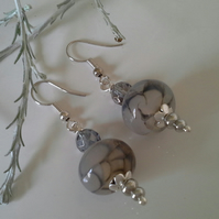 Agate & Gray Quartz Silver Plated Earrings