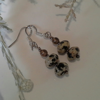 Dalmatian Jasper & Smokey Quartz Sterling Silver Earrings