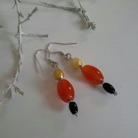 Dainty Carnelian,  Onyx & Freshwater Culture Pearls Sterling Silver Earrings