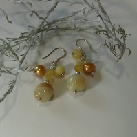 Yellow Opal, Pearls,  Jade & Flourite Sterling Silver Earrings