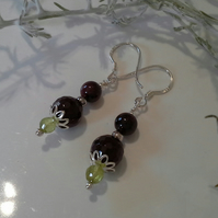 Peridot & Indian Red Garnet Sterling Silver Earings