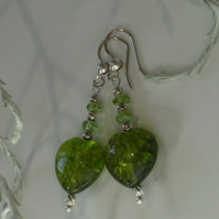 Large Peridot Heart's  Sterling Silver Earrings