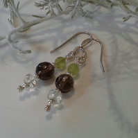 Rare Imperial Topaz,  Smokey Quartz & Peridot Sterling Silver Earrings