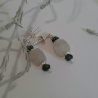 Genuine Emerald & Rutilated Golden Quartz Stud Sterling Silver Earrings