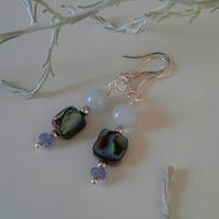 Aquamarine, Abalone Shell, Tanzanite Sterling Silver Earrings