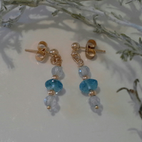 9k Yellow Gold Sky Blue & Swiss  Blue Topaz Stud earrings