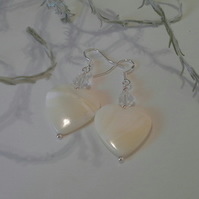 Large Mother of Pearl & Clear Quartz Sterling Silver Earrings