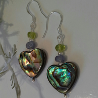 Large Abolone Shell Hearts,  Tanzanite & Peridot Sterling Silver Earrings