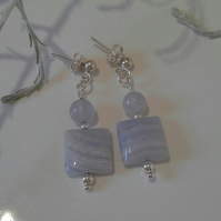 A Grade Blue Lace Agate & Agate Sterling Silver Stud Earrings