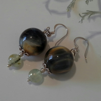 Natural Blue Tiger's Eye & Prehnite Sterling Silver Earrings.