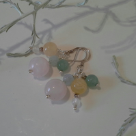 SALE Rose Quartz,  Aventurine, Aquamarine,  Agate Sterling Silver Earrings