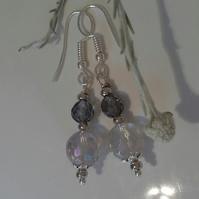 Gray Quartz Sterling Silver Plated Earrings