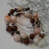 Bronzite & Agate Statement Necklace Silver Plated