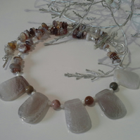 Gray Agate & Botswana Agate Silver Plated Necklace