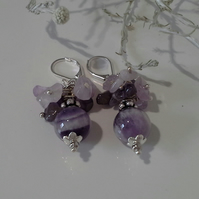 Amethyst Cluster Drop Silver Plate Earrings