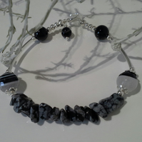 Snowflake Obsidian,  Agate Silver Plated Bracelet
