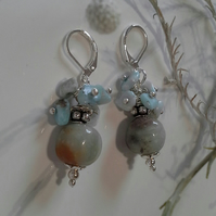 Rare Larimar & Amazonite Silver Plate Earrings