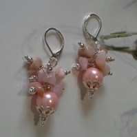 Pink Opal & Shell Pearl Silver Plate Earrings