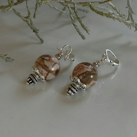 African Jasper Leaver Back Silver Plated Earrings
