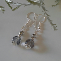 Gray Quartz & Silver Coated Heamotite Earrings