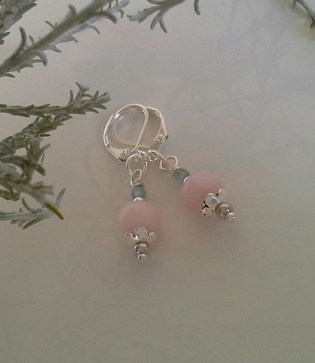 Rose Quartz & Apatite Silver Plated Earrings