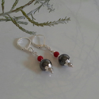 Heamotite & Red Coral Leaver Back Silver Plated Earrings