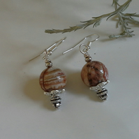 African Jasper Silver Plated Earrings