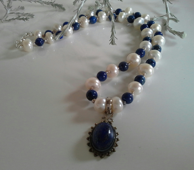 Lapis Lazuli & Freshwater Culture Pearl Sterling Silver Necklace