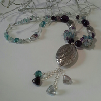 Fluorite & Amethyst Statement Silver Plate Necklace