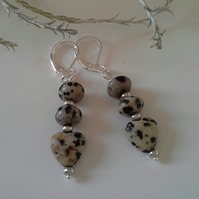 Dalmatian Jasper Silver Plate Earrings