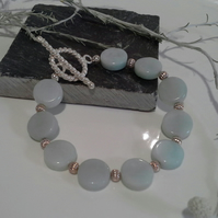 Amazonite Coin Silver Plate Bracelet