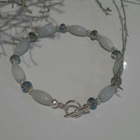 Amazonite & Faceted Crystal Silver Plate Bracelet  19cms
