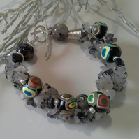 Rutilated Quartz & Polymer Clay Bead  Bracelet Silver Plated