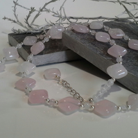Genuine Rose Quartz Silver Plated Necklace