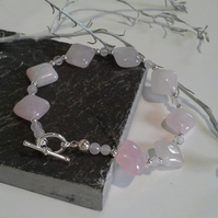 Rose Quartz Silver Plated Bracelet