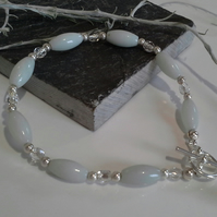 Amazonite & Silver Lined Crystal Bead Bracelet Silver Plate