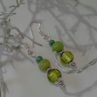 Green Glass Bead Silver Plate Earrings