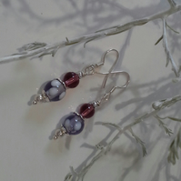 Lamp work Glass  & Glass bead Silver Plated Earrings