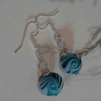 Hand Blown Murano Glass & Clear Crystal Silver Plate Earrings