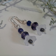 Glass Bead & Crystal Silver Plated Earrings