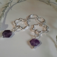 Amethyst Oval Hoop Silver Plated Earrings