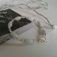 Amazonite & Faceted Crystal Silver Plated Bracelet 16.5 cms