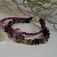 Tourmaline, Pryrite,  Shell Pearl & Seed Bead Silver Plate Bracelet